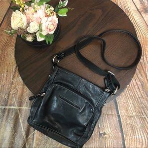 Fossil Black Leather Crossbody Bag Purse Shoulder
